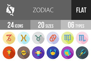 24 Zodiac Flat Shadowed Icons