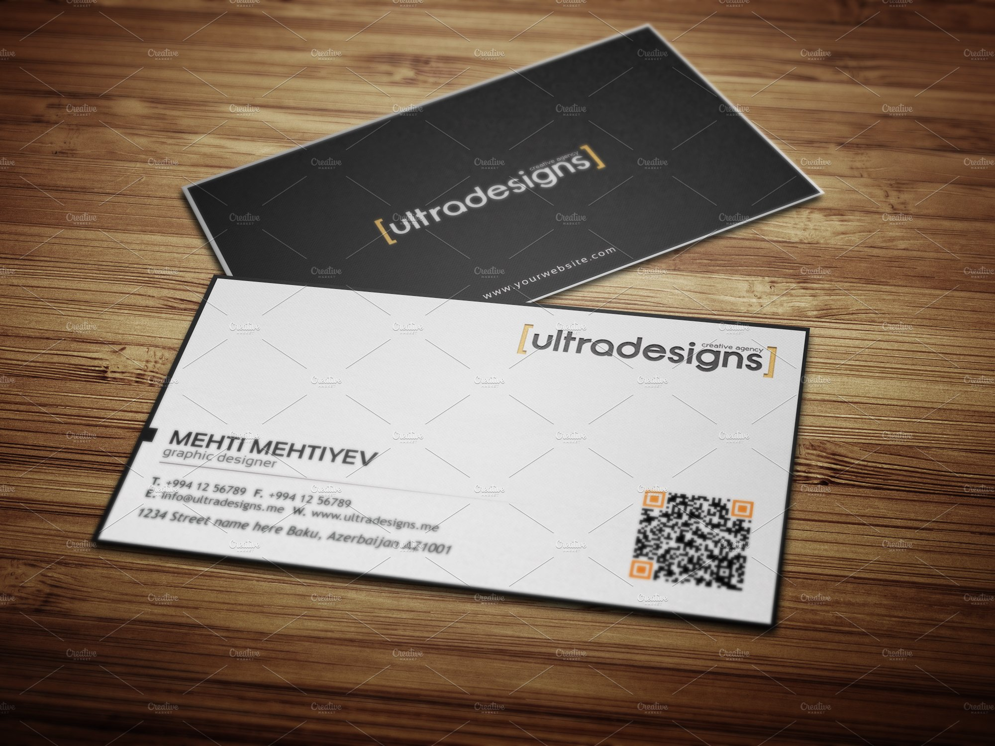 Clean QR Code Business Card #3 ~ Business Card Templates ~ Creative ...