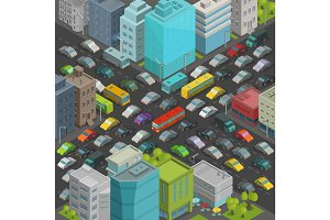 City street Intersection traffic jams road Isometric projection view. A lot cars end buildings top view Vector illustration