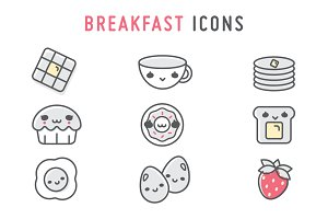 Cute Breakfast Icons