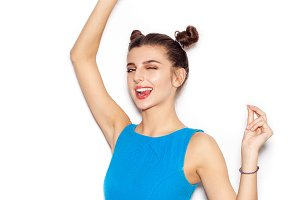 woman saluting and winking