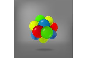 Abstract molecule. Atoms. 3d vector illustration. Science concept. Nucleus.