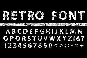 Grunge vintage ink vector font