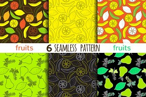 6 juicy fruits seamless patterns