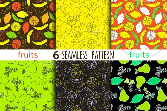 6 Juicy Fruits Seamless Patterns