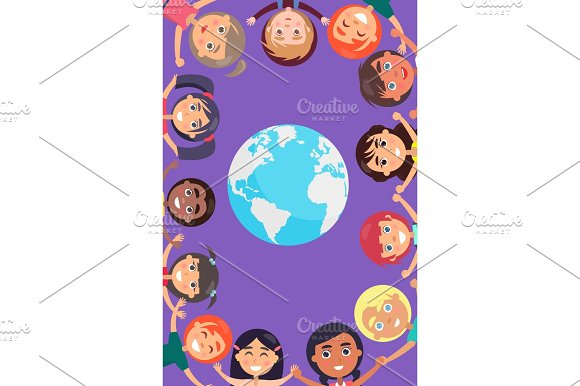 Children Heads and Hands around Earth Planet