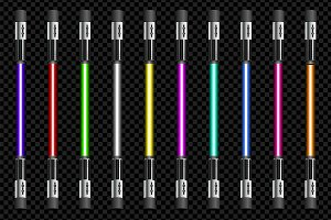 Vector neon tube light pack isolated