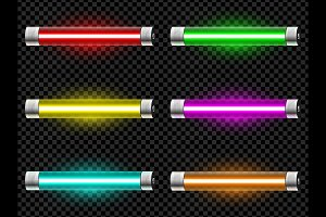 Realistic neon tube vector light