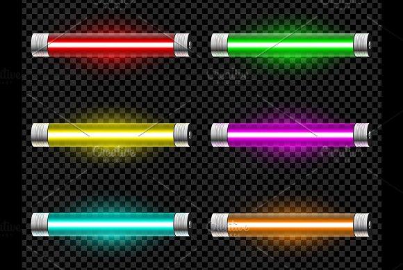 Realistic Neon Tube Vector Light