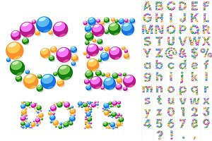 Alphabet symbols of colorful bubbles