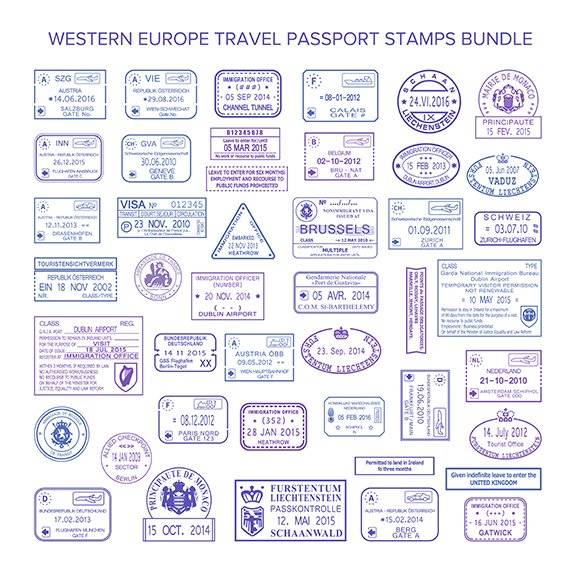 Passport Visa Stamps Set For Europe