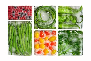 Frozen vegetables in ice.