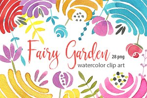 Watercolor colored fairy flowers png