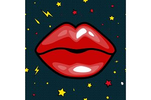 fashion girls lips with red lipstick in cartoon pop art style patch badges, cool retro collection sticker vector illustration