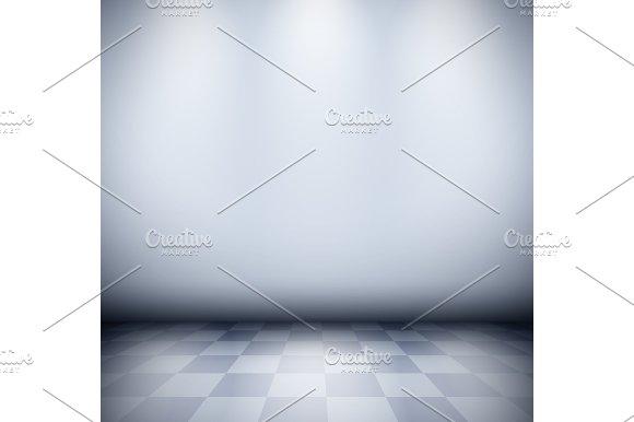 Dark Misty Room With Checkered Floor