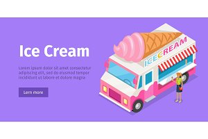Ice Cream Truck in Isometric Projection. Vector