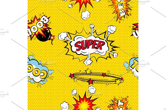 Seamless Pattern Cartoon Comic Super Speech Bubble Labels With Text Sexy Open Red Lips With Teeth Retro Cartoon Vector Pop Art Illustration Halftone Dot Vintage Effect Background