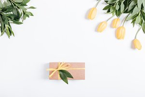 Gift box with a yellow ribbon