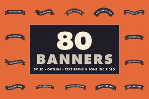 80 banners with text paths & font!