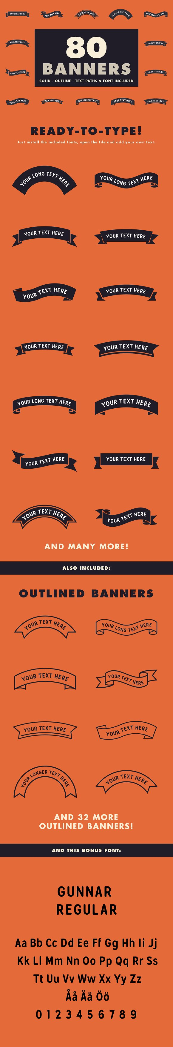 80 Banners With Text Paths Font