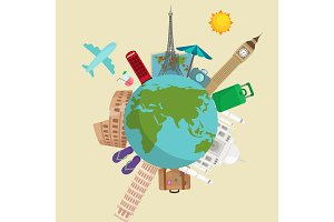 Travel around the world poster. Tourism and vacation, earth , journey global, vector illustration.   concept banner, international business background