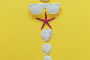 sunglasses and seashells