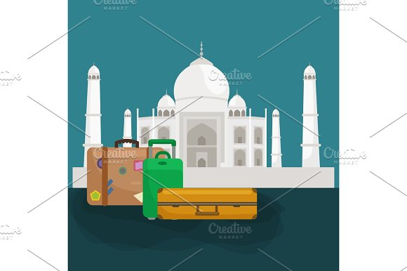 Traveling Bag Suitcase For Trip Or Vocation Tourism Icon Baggage Voyage Vector Illustration Summer Vocations Tourist Concept Packaging Label Sticker On Travel