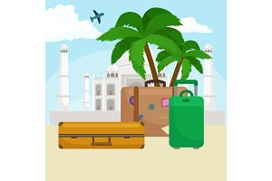 Traveling bag suitcase for trip or vocation, tourism icon baggage  voyage, vector illustration. Summer vocations tourist concept, packaging label sticker on travel