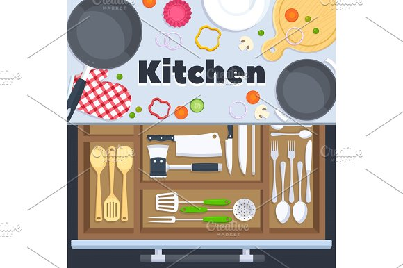 Kitchen Design Vector Background With Cooking Restaurant Equipment