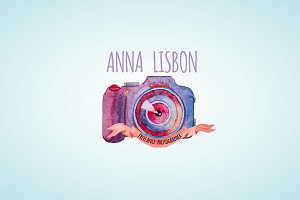 watercolor photographer logo