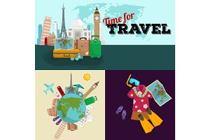 Travel concept vector illustration, Tourism and vacation trip planning