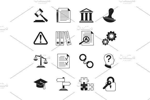 Law Consulting Legal Compliance Vector Icons