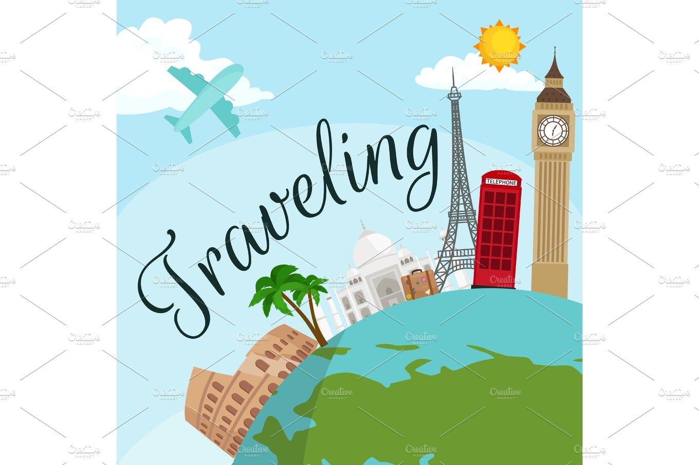 Travel Around The World Poster Tourism And Vacation Earth Journey Global Vector