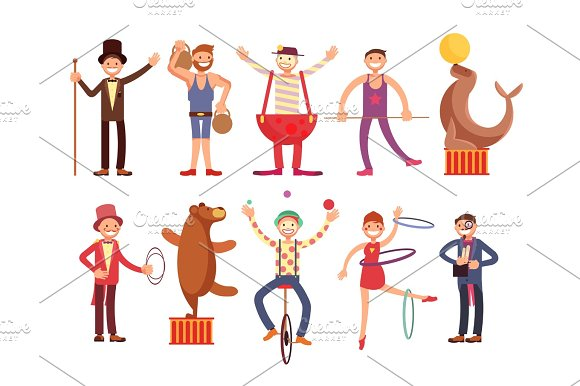 Circus Artists Cartoon Characters Vector Set Acrobat And Strongman Magician Clown Trained Animals