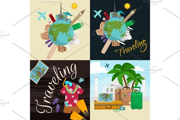 Travel Around The World Poster Tourism And Vacation Earth Journey Global Vector Illustration Concept Banner International Business Background