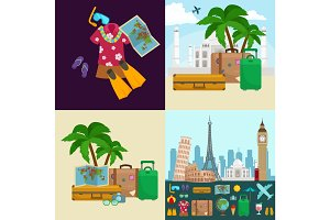 Travel tourism icons vector illustration, vacation traveling on airplane, planning a summer , and journey objects passenger luggage isolated, case for baggage
