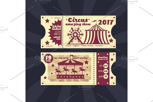 Vintage Kids Costume Party Invitation Retro Circus Carnival Ticket Vector Template