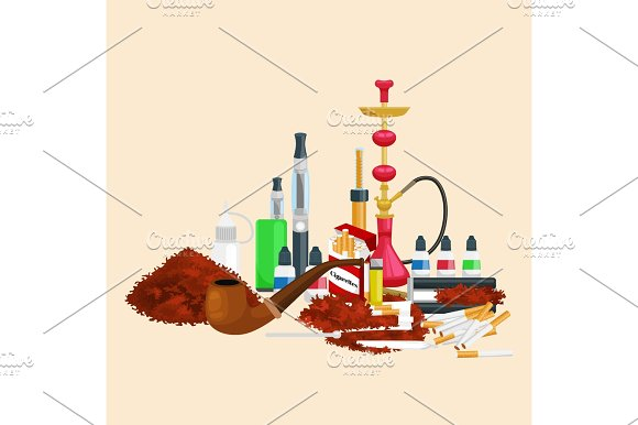 Smoking tobacco products icons set with cigarettes hookah cigars lighter isolated vector illustration in Illustrations