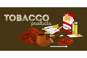 Smoking wooden pipe with tobacco for rolled cigarette and pack  equipment vector illustration