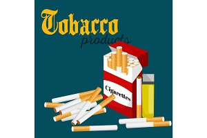 smoking tobacco cigarette with filter in red box and lighter vector illustration