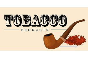 Smoking wooden pipe and tobacco and smoking equipment vector illustration