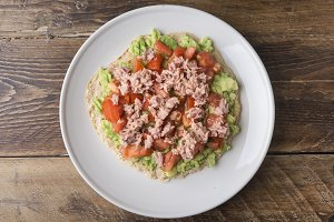 Pancake with avocado tuna and tomato