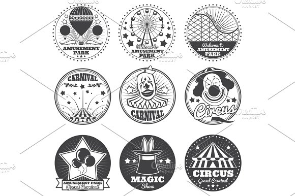 Amusement Park Circus And Carnival Vector Vintage Emblems And Labels