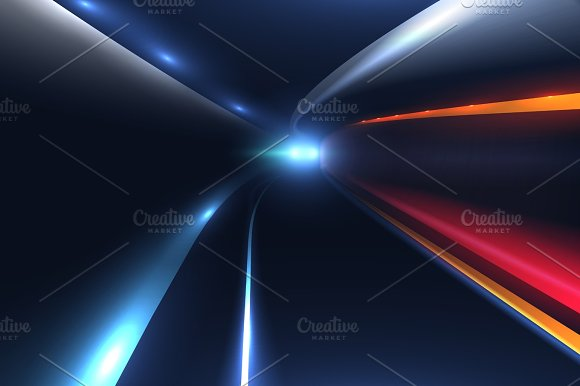 City Road Car Light Trails High Speed Vector Background