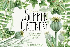 Summer Greenery. Watercolor set