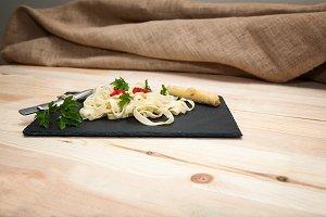 Fettuccini  Italian pasta with parsl