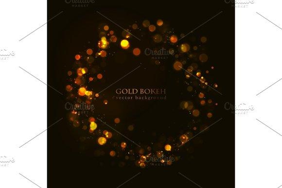 Magic Sparkle Gold Dots On Dark Background Vector Bokeh Effect