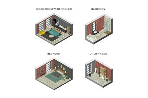 Interiors set in isometric views