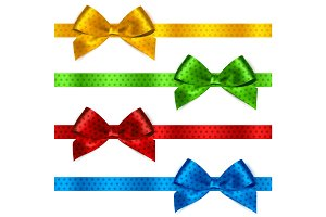 Shiny satin ribbon on white background
