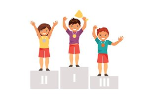 Children on the podium